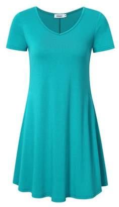 Lintimes Women's Short Sleeve Sleeveless Flare Tunic Top Shirt Mini Dress Color:Blue Size:XL