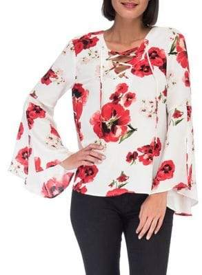 Bobeau B Collection by Floral Lace-Up Blouse