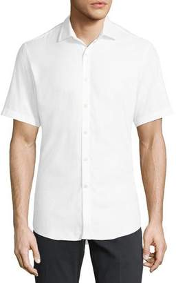 Salvatore Ferragamo Men's Gancini-Jacquard Short-Sleeve Sport Shirt, White