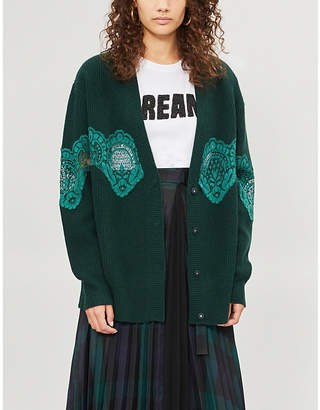 Sandro Floral-lace trimmed wool-blend cardigan