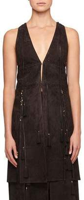 Chloé Sleeveless Suede Waistcoat with Lacing Charms