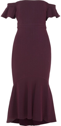 Rachel Zoe Devin Off-the-shoulder Stretch-crepe Dress - Plum