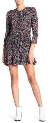 Veronica Beard Silk Tie Front Floral Print Dress
