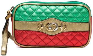 Gucci red and green leather metallic quilted purse