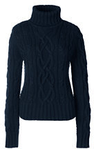 Lands' End Women's Drifter Cable Turtleneck Sweater-Emerald Jewel $99 thestylecure.com