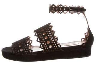 Alaia Suede Laser Cut Sandals w/ Tags