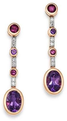 Bloomingdale's Amethyst, Rhodolite & Diamond Drop Earrings in 14K Rose Gold - 100% Exclusive
