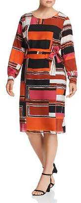Marina Rinaldi Dedotto Geo Print Silk Dress