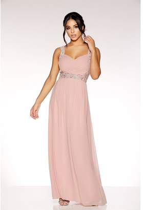 Quiz Dusky Pink Chiffon V Neck Embellished Maxi Dress