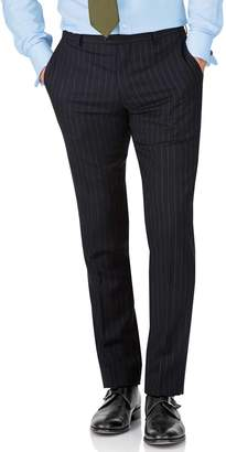 Charles Tyrwhitt Navy Stripe Slim Fit Twill Business Suit Wool Pants Size W40 L38