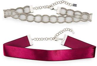 Chan Luu Two-Piece Metal Lace & Velvet Choker Necklace Set