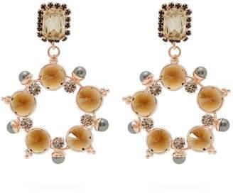 Erdem Crystal and faux-pearl hoop-drop earrings