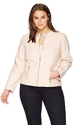 Calvin Klein Women's Plus Size PU Zip FRNT JKT W/HW