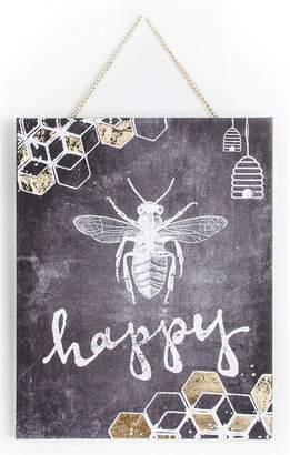 Graham & Brown Chalkboard Bee Happy Canvas Wall Art