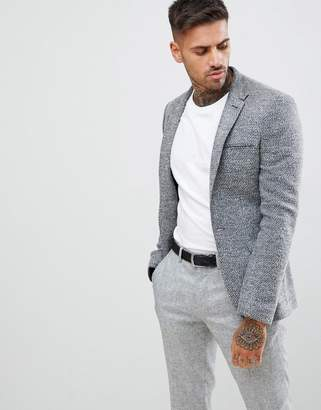 Asos Super Skinny Texture Blazer In Charcoal