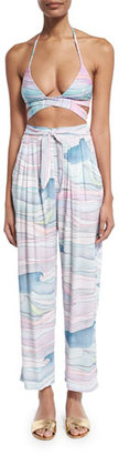Mara Hoffman Waves Tie-Front Coverup Pants $265 thestylecure.com