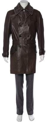 Bottega Veneta Fur-Trimmed Leather Trench Coat