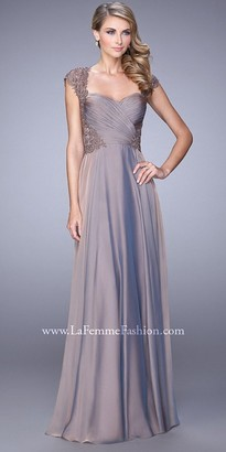 La Femme Semi Lace Applique Panel Evening Dress $598 thestylecure.com