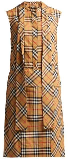 Luna House Check Sleeveless Cotton Dress - Womens - Beige Multi