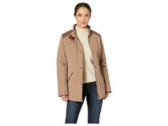 Lauren Ralph Lauren Short Quilt w/ Faux Leather Trim Women's Coat