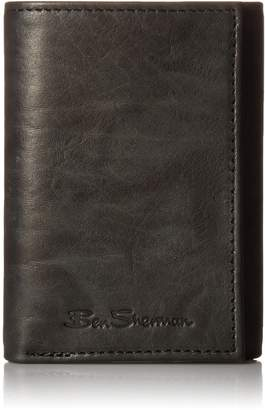 Ben Sherman Manchester Full Grain Cowhide Marble Crunch Leather Trifold Wallet With ID Window With RFID