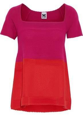 M Missoni Jersey-Paneled Two-Tone Crochet Cotton-Blend Top