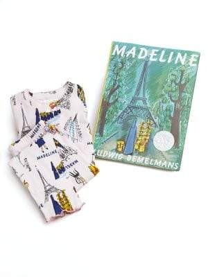 Books To Bed Little Girl's& Girl's Madeline Pajama and Book Set