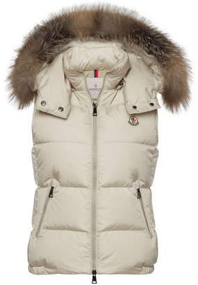 Moncler Gallinule Down Vest with Detachable Fur-Trimmed Hood