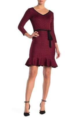 Gabby Skye Fluted Elbow Sleeve Sheath Dress