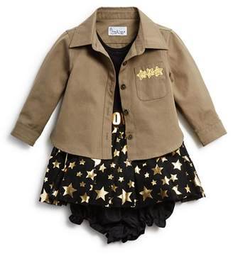 Pippa & Julie Girls' Military Shirt, Metallic-Star Tutu Dress & Bloomers Set - Baby