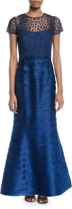 Roland Nivelais Embellished Top & Tiered Pleated Evening Gown w/Belt