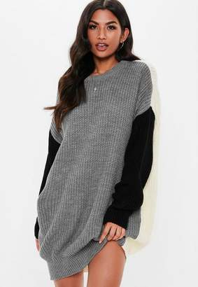 Missguided Gray Colorblock Oversized Knit Sweater Dress