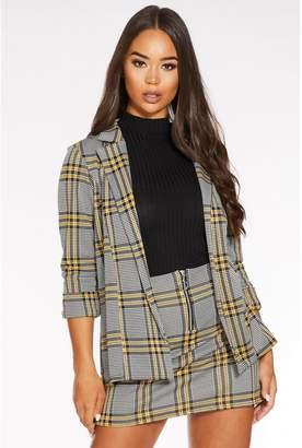 Quiz Black and Yellow 3/4 Sleeve Check Blazer