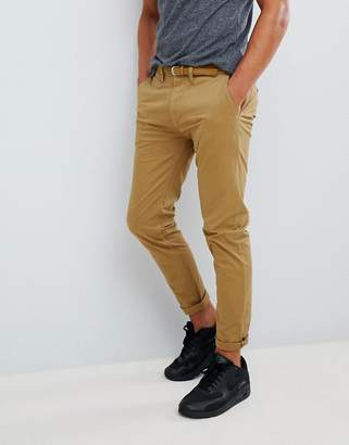 Pull&Bear Skinny Chinos With Belt In Tan