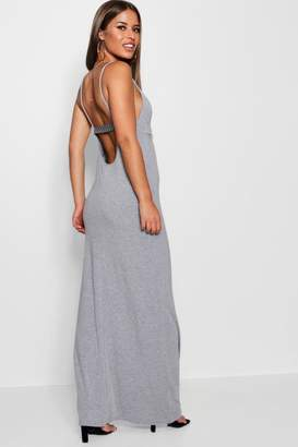 boohoo Petite Scoop Back Tape Detail Maxi Dress