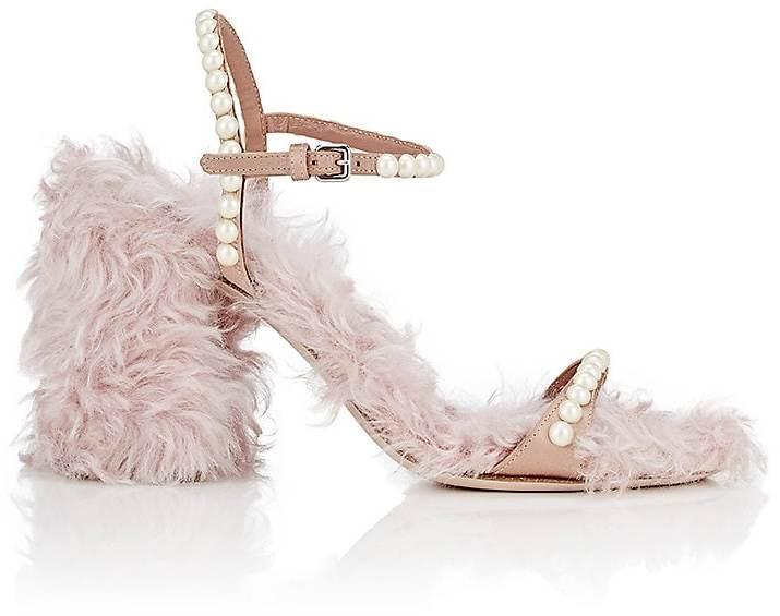 Miu Miu Women's Embellished Mohair Eco-Shearling & Satin Sandals