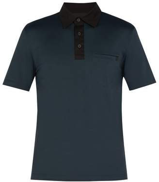 Prada Point Collar Stretch Cotton Jersey Polo Shirt - Mens - Blue Multi