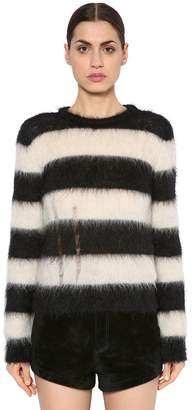 Saint Laurent Destroyed Brushed Mohair Knit Sweater