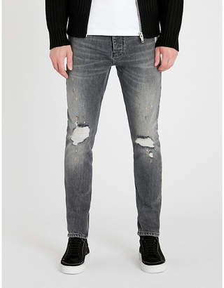The Kooples Distressed tapered-fit skinny jeans