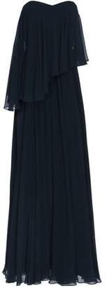 Badgley Mischka Strapless Layered Georgette Gown