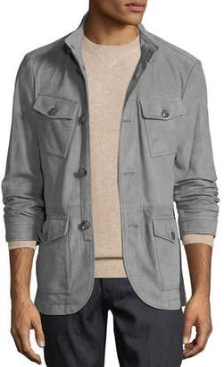 Michael Kors Men's Button-Front Suede Field Jacket