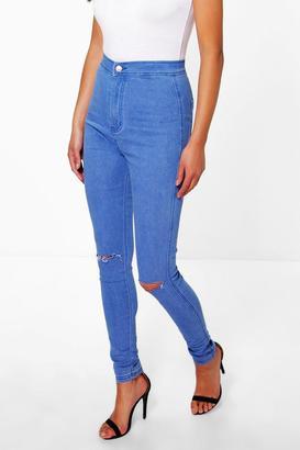 boohoo Lara High Rise Blue Knee Rip Jeans