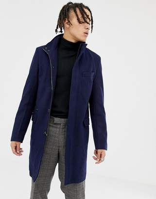 Harry Brown premium wool blend funnel neck overcoat