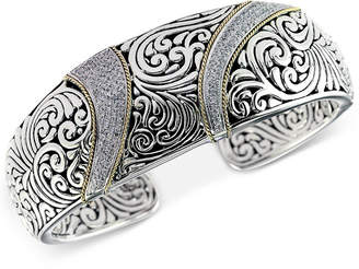 Effy Balissima by Diamond (5/8 ct. t.w.) Swirl Pattern Hinged Cuff Bracelet in Sterling Silver & 18k Gold