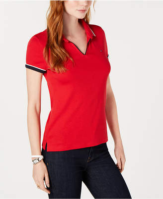 Tommy Hilfiger Cotton V-Neck Polo Top