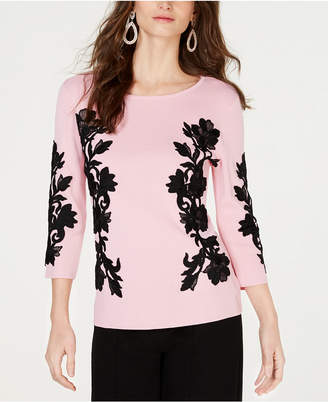 INC International Concepts I.N.C. Lace-Trim Sweater, Created for Macy's