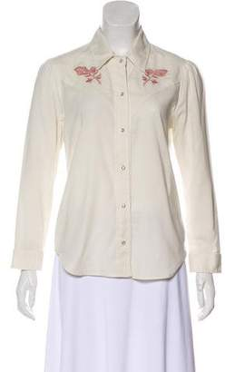 Amo Embroidered Long Sleeve Top