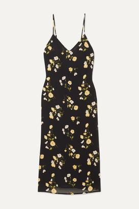 Reformation Dietrich Floral-print Georgette Midi Dress - Black