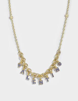 Valentino Crystals Lettering Necklace in Metal and Zaffiro Swarovski Crystals Valentino KdwnOj