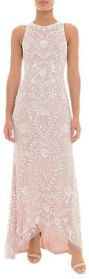 Adrianna Papell Beaded Halter Dress, Shell Pink/Ivory